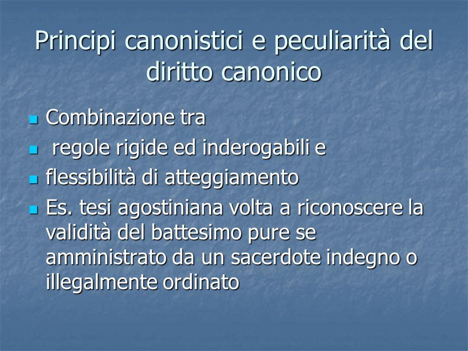 Principi canonistici e peculiarità del diritto canonico