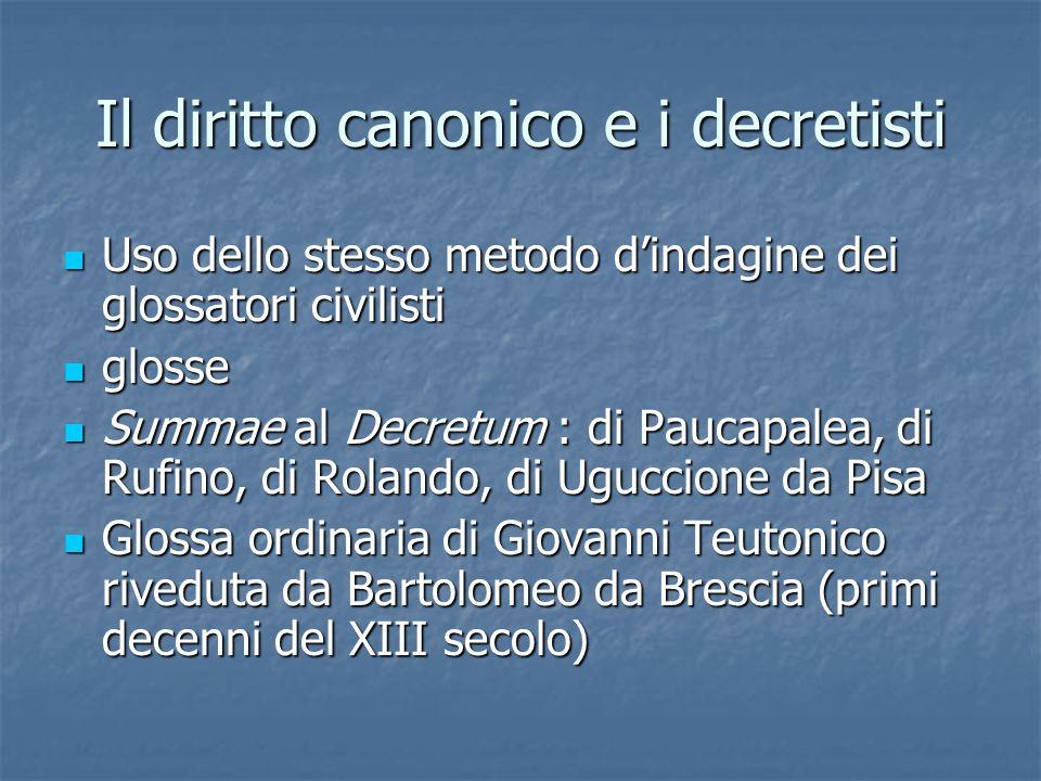 Il diritto canonico e i decretisti