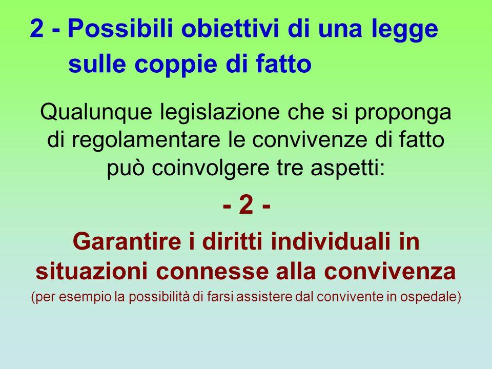 2 - Possibili obiettivi di una legge sulle coppie di fatto