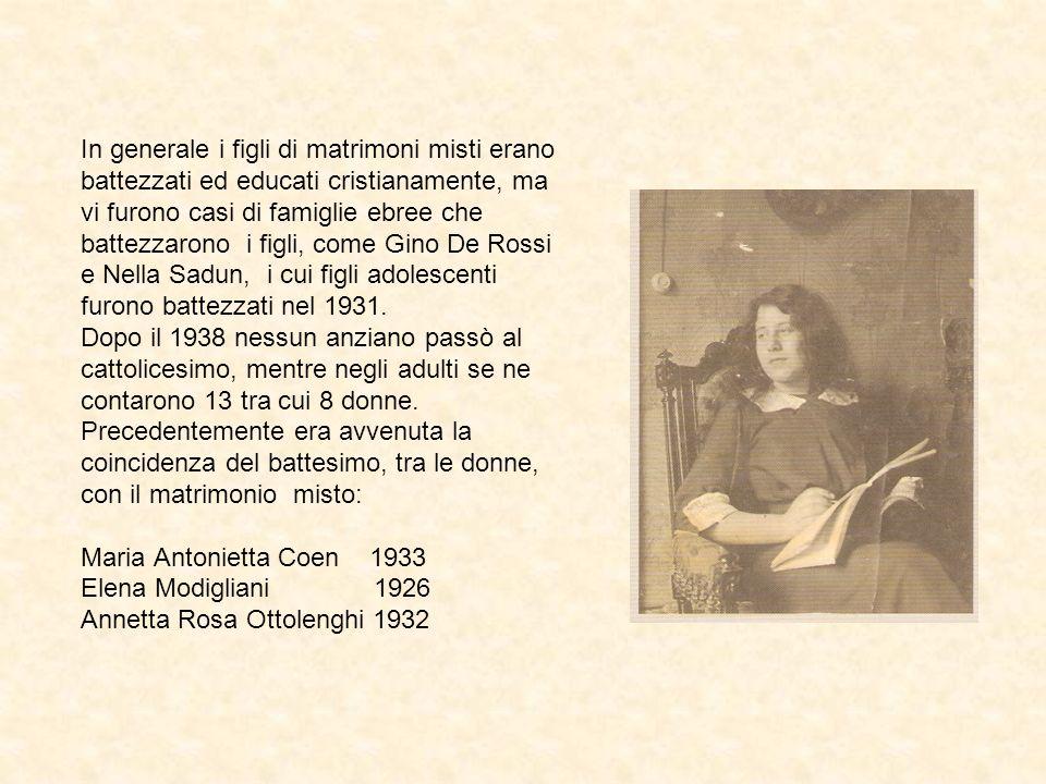 In generale i figli di matrimoni misti erano battezzati ed educati cristianamente, ma vi furono casi di famiglie ebree che battezzarono i figli, come Gino De Rossi e Nella Sadun, i cui figli adolescenti furono battezzati nel 1931.