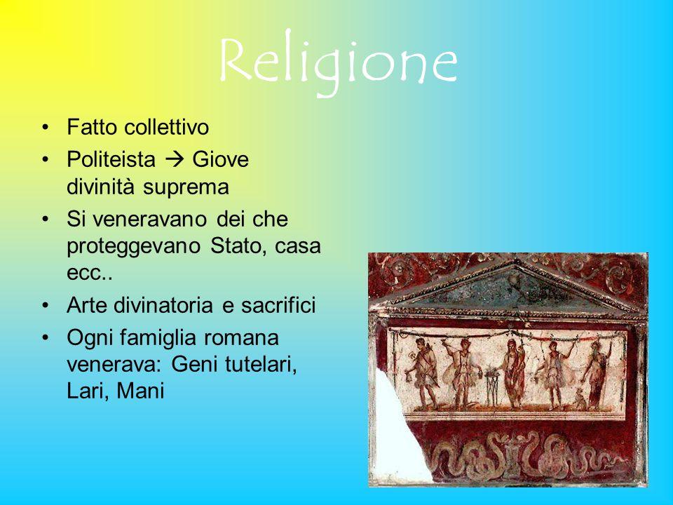 Religione Fatto collettivo Politeista  Giove divinità suprema