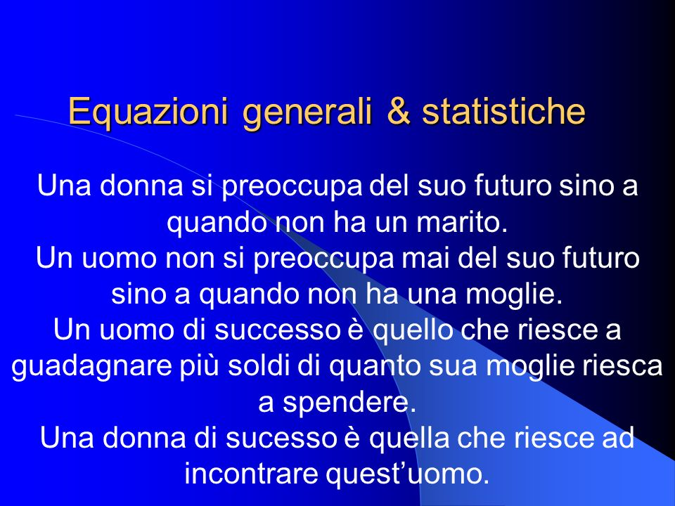 Equazioni generali & statistiche