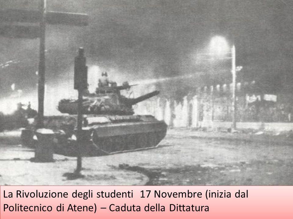 La Rivoluzione degli studenti 17 Novembre (inizia dal Politecnico di Atene) – Caduta della Dittatura