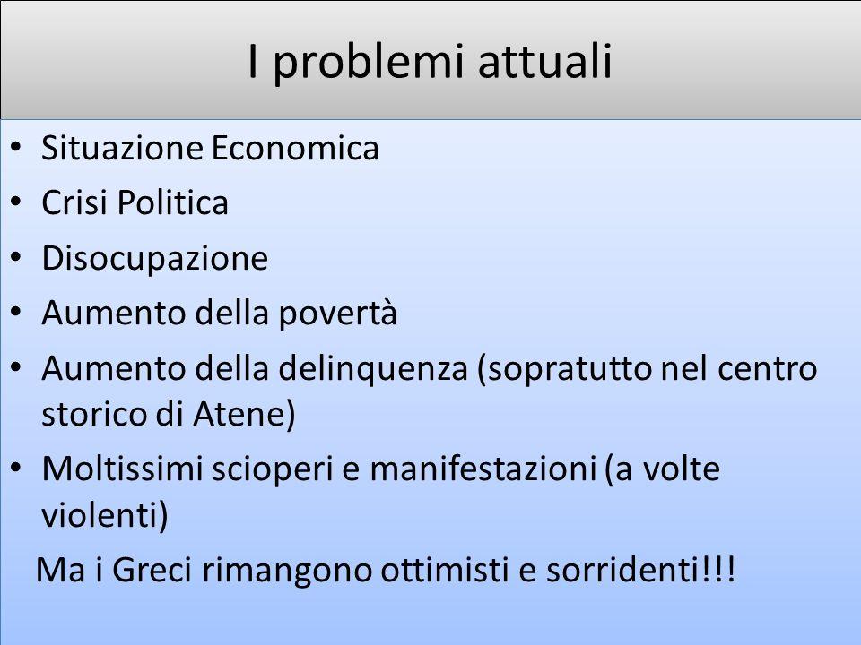 I problemi attuali Situazione Economica Crisi Politica Disocupazione