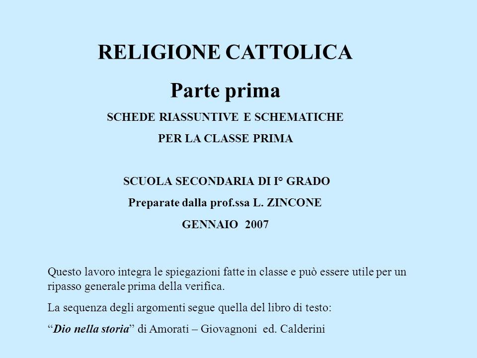 RELIGIONE CATTOLICA Parte prima