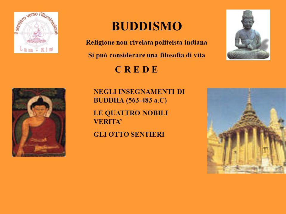 BUDDISMO C R E D E Religione non rivelata politeista indiana
