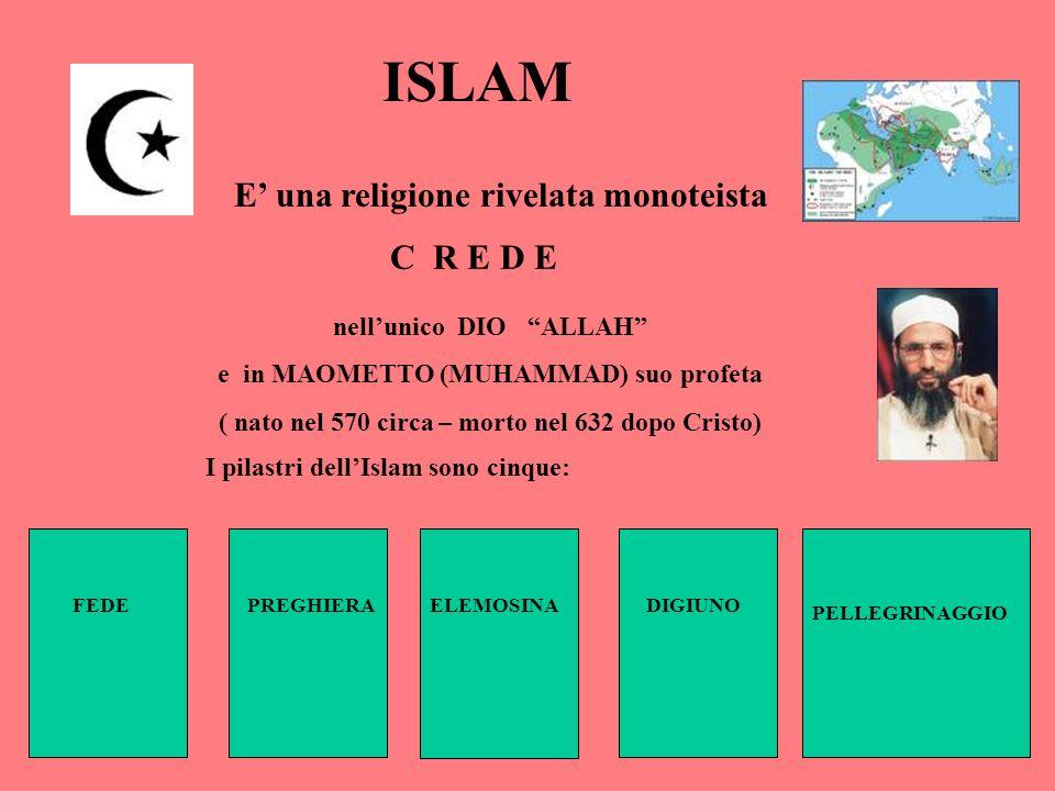 ISLAM E' una religione rivelata monoteista C R E D E