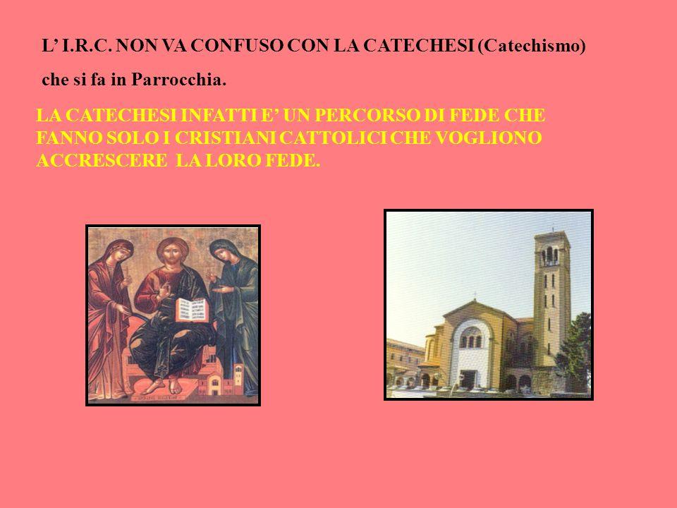L' I.R.C. NON VA CONFUSO CON LA CATECHESI (Catechismo)