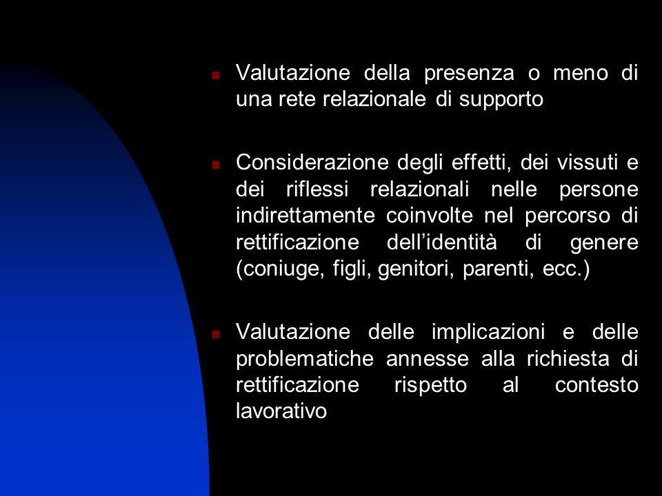 Valutazione della presenza o meno di una rete relazionale di supporto