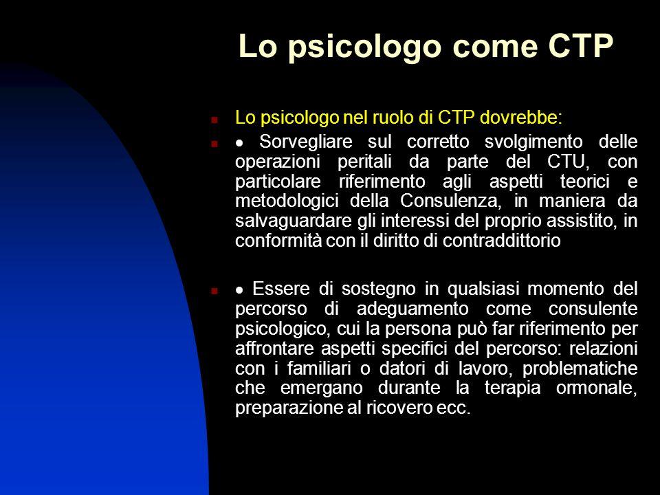 Lo psicologo come CTP Lo psicologo nel ruolo di CTP dovrebbe:
