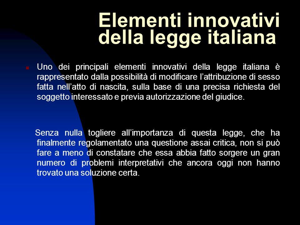 Elementi innovativi della legge italiana