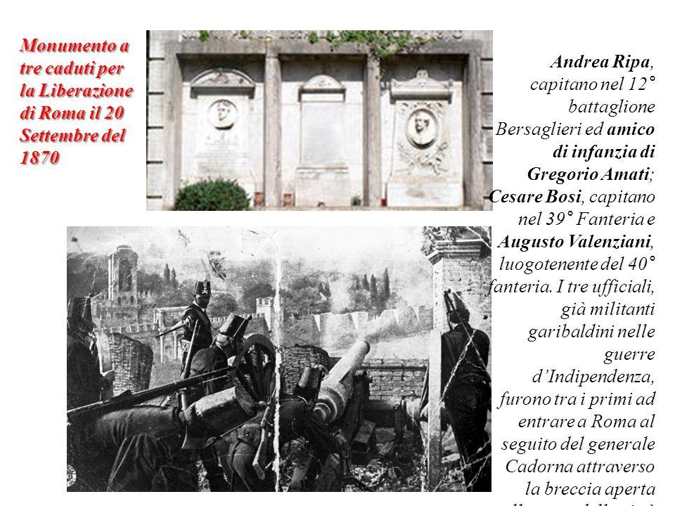 Monumento a tre caduti per la Liberazione di Roma il 20 Settembre del 1870