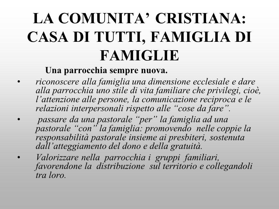 LA COMUNITA' CRISTIANA: CASA DI TUTTI, FAMIGLIA DI FAMIGLIE