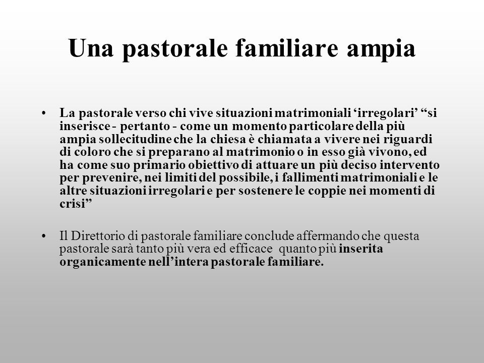 Una pastorale familiare ampia