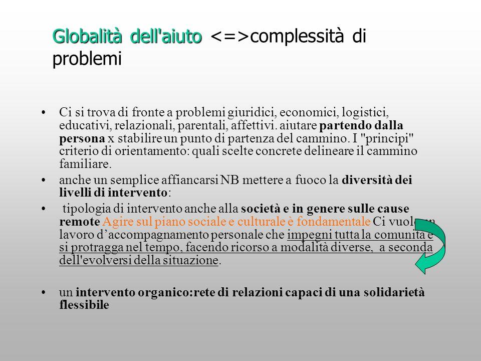 Globalità dell aiuto <=>complessità di problemi