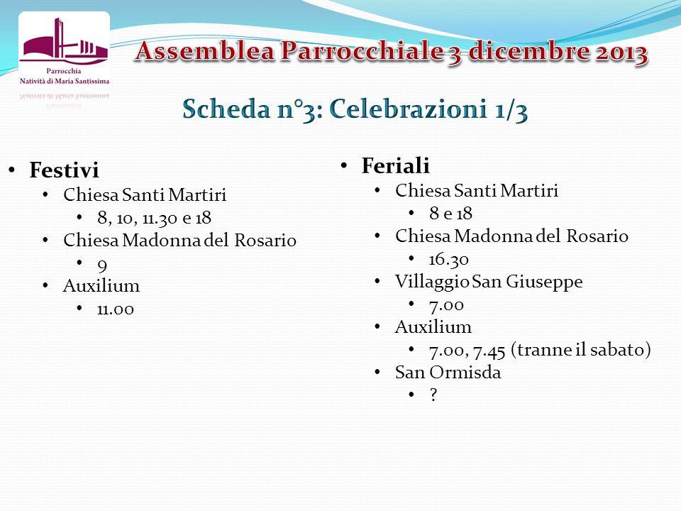 Assemblea Parrocchiale 3 dicembre 2013 Scheda n°3: Celebrazioni 1/3