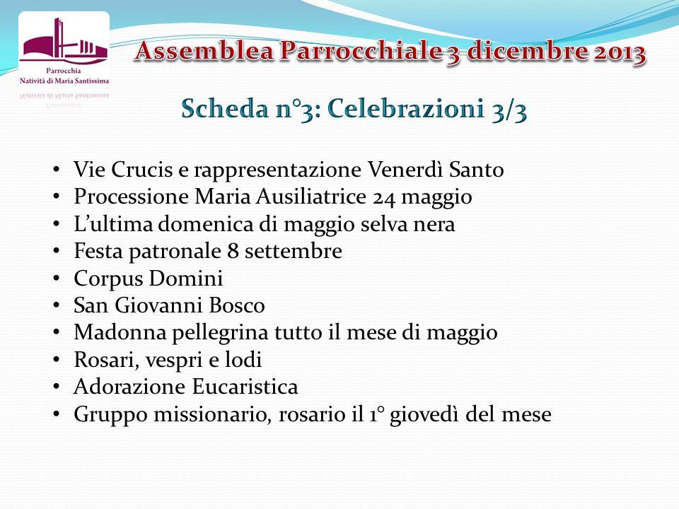 Assemblea Parrocchiale 3 dicembre 2013 Scheda n°3: Celebrazioni 3/3