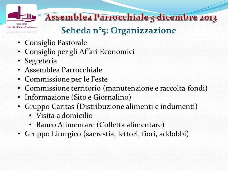 Assemblea Parrocchiale 3 dicembre 2013 Scheda n°5: Organizzazione