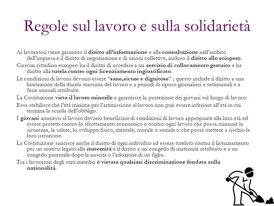Regole sul lavoro e sulla solidarietà