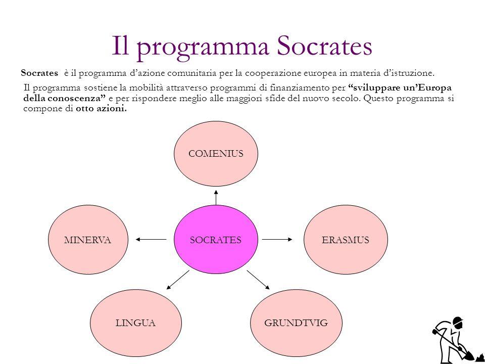 Il programma Socrates Socrates è il programma d'azione comunitaria per la cooperazione europea in materia d'istruzione.