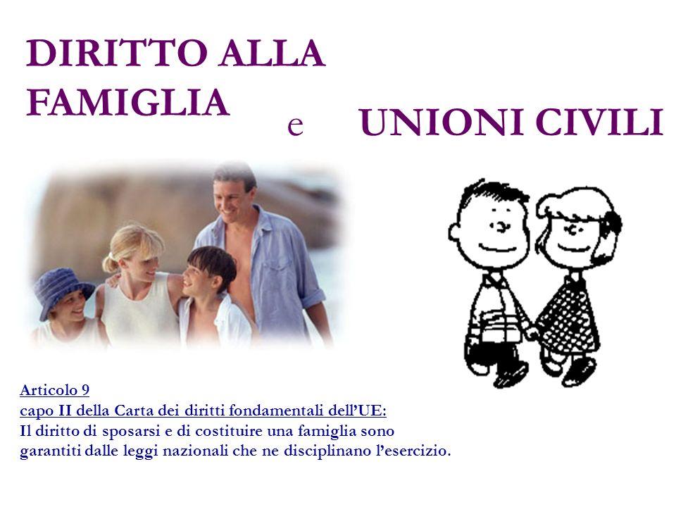 DIRITTO ALLA FAMIGLIA e UNIONI CIVILI Articolo 9