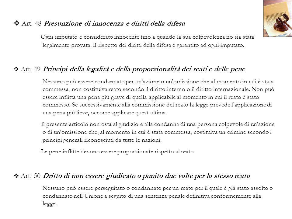 Art. 48 Presunzione di innocenza e diritti della difesa