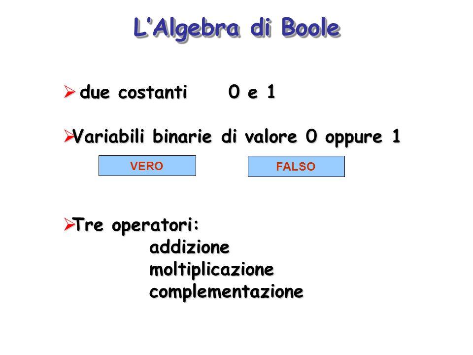 L'Algebra di Boole due costanti 0 e 1