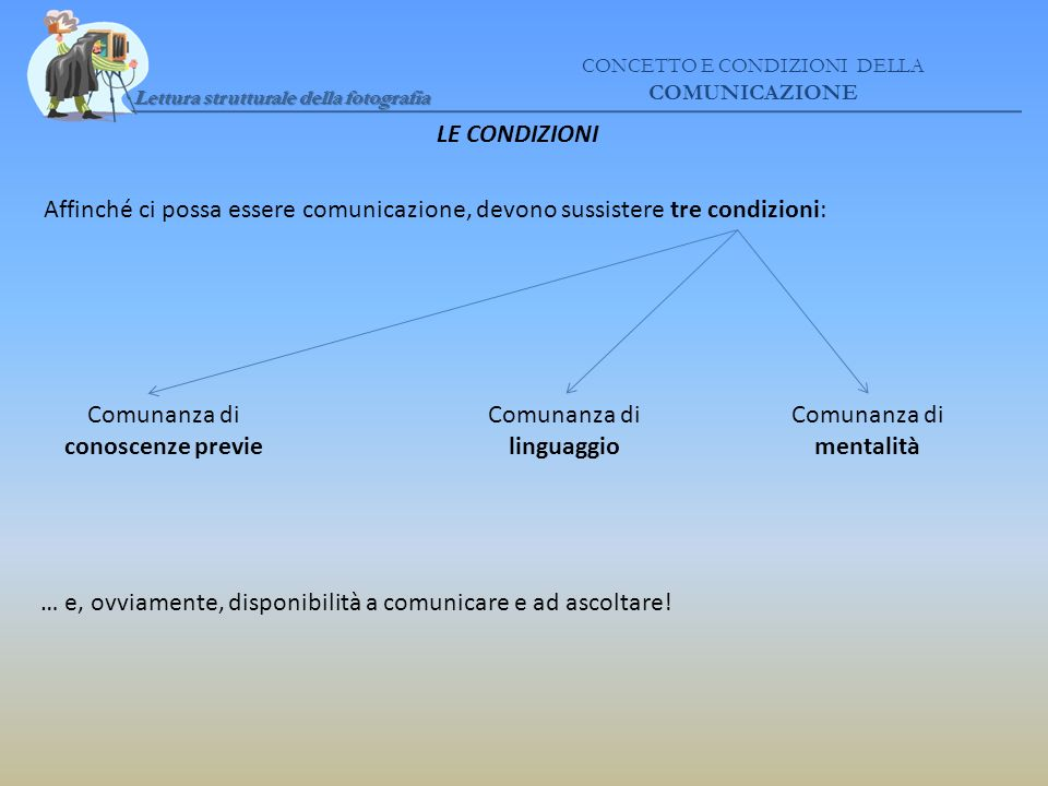 Comunanza di conoscenze previe Comunanza di linguaggio
