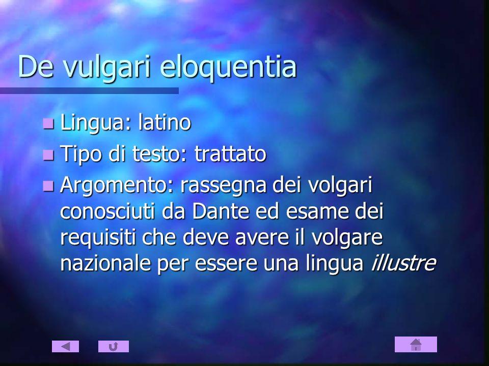 De vulgari eloquentia Lingua: latino Tipo di testo: trattato