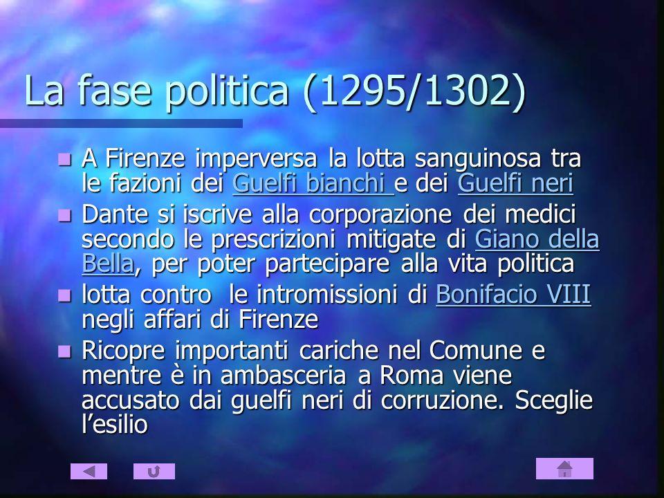La fase politica (1295/1302) A Firenze imperversa la lotta sanguinosa tra le fazioni dei Guelfi bianchi e dei Guelfi neri.