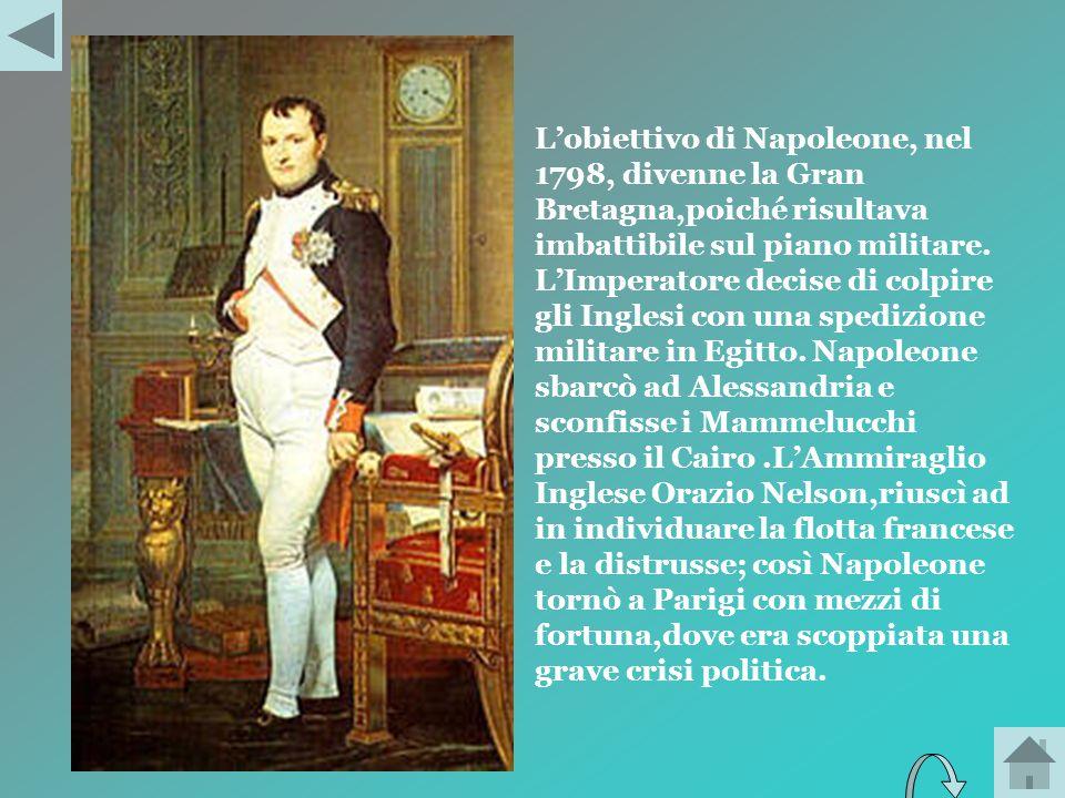 L'obiettivo di Napoleone, nel 1798, divenne la Gran Bretagna,poiché risultava imbattibile sul piano militare.