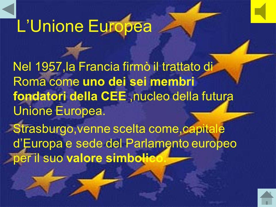 L'Unione Europea Nel 1957,la Francia firmò il trattato di Roma come uno dei sei membri fondatori della CEE ,nucleo della futura Unione Europea.