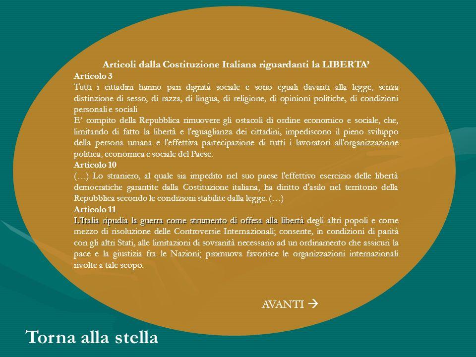 Articoli dalla Costituzione Italiana riguardanti la LIBERTA'