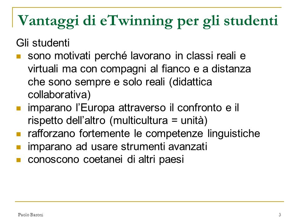 Vantaggi di eTwinning per gli studenti