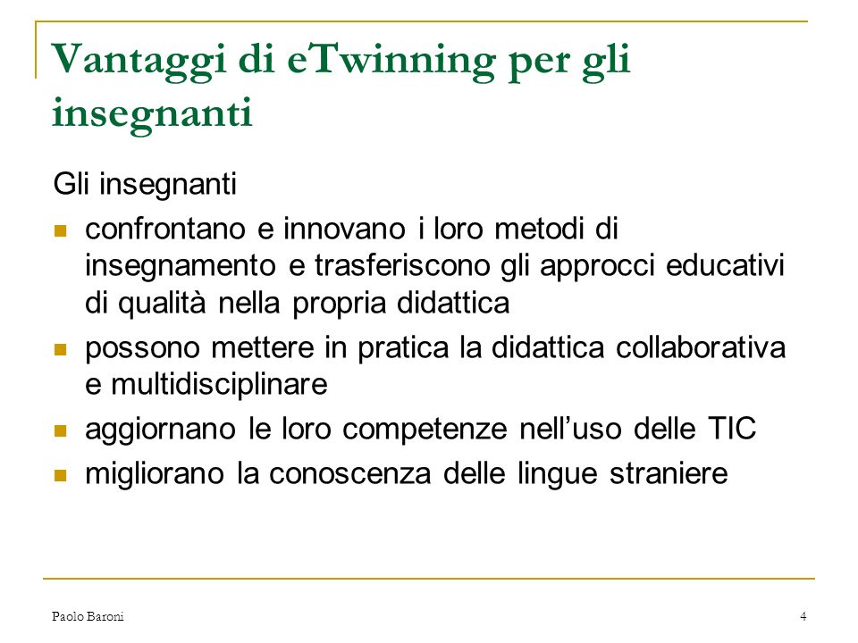 Vantaggi di eTwinning per gli insegnanti