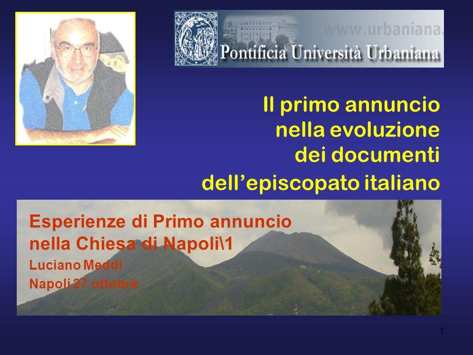 Il primo annuncio nella evoluzione dei documenti dell'episcopato italiano