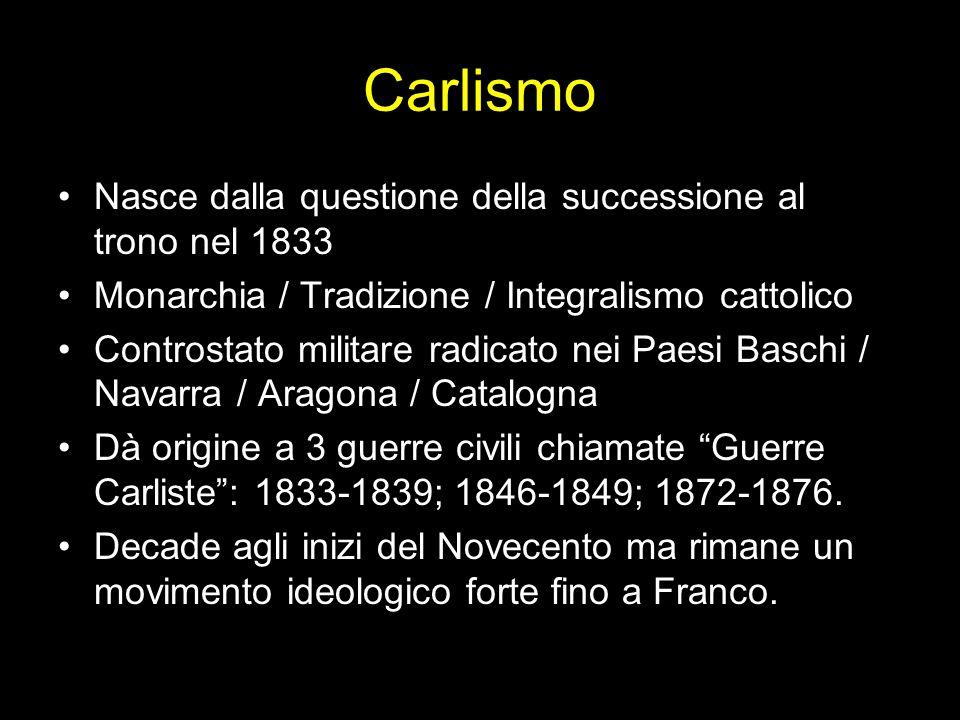Carlismo Nasce dalla questione della successione al trono nel 1833