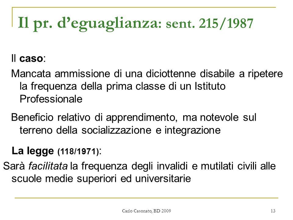 Il pr. d'eguaglianza: sent. 215/1987