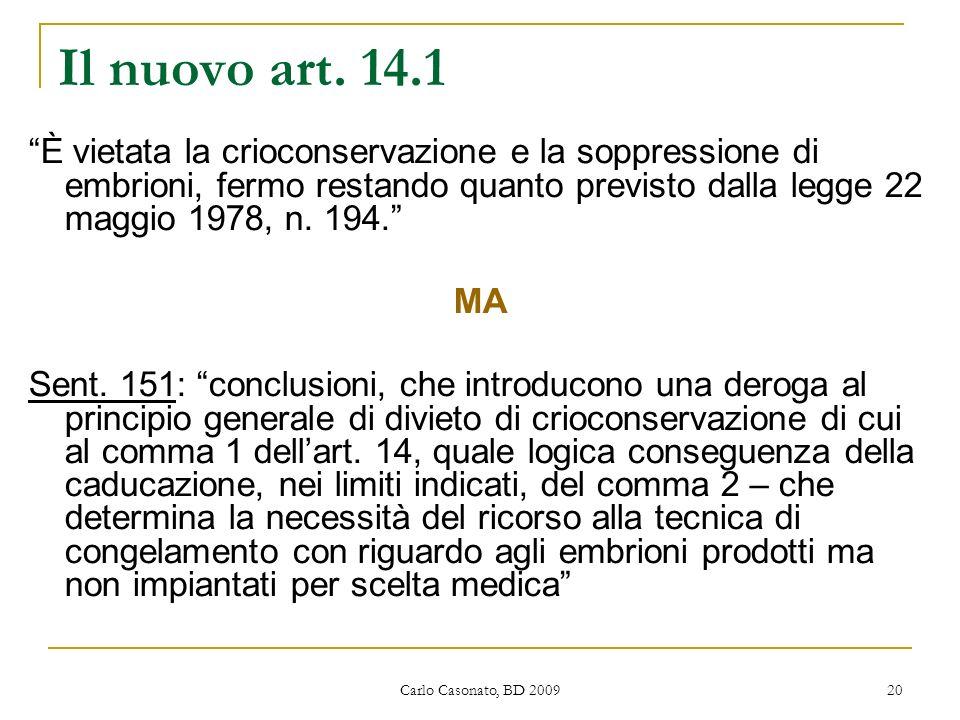 Il nuovo art. 14.1 È vietata la crioconservazione e la soppressione di embrioni, fermo restando quanto previsto dalla legge 22 maggio 1978, n. 194.