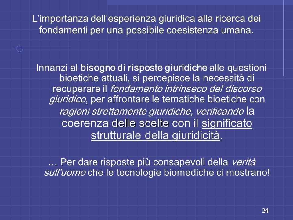 L'importanza dell'esperienza giuridica alla ricerca dei fondamenti per una possibile coesistenza umana.