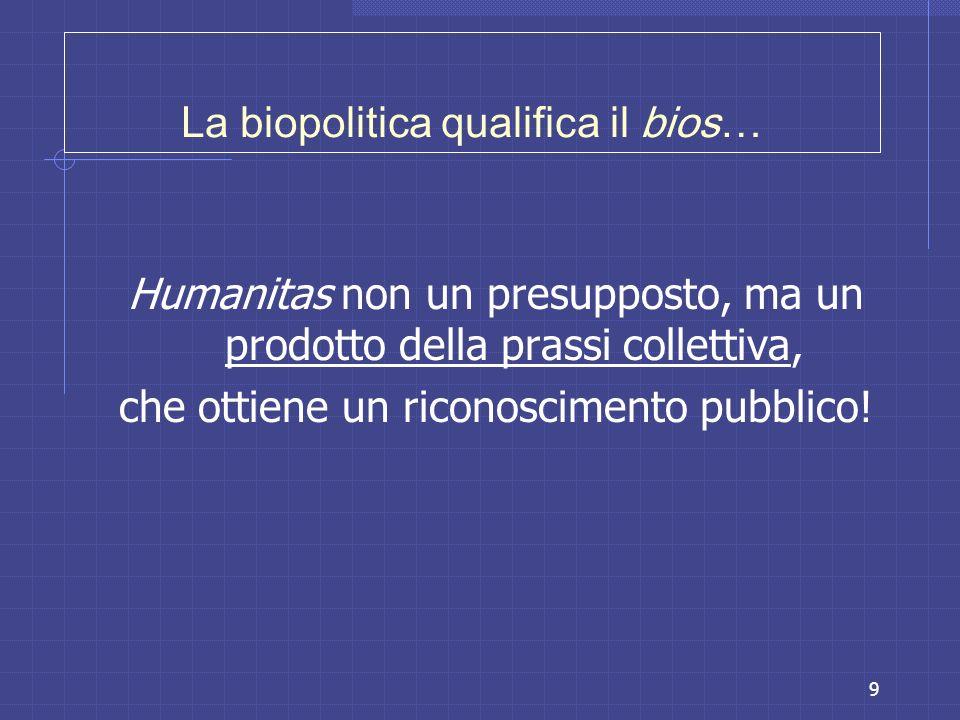 La biopolitica qualifica il bios…