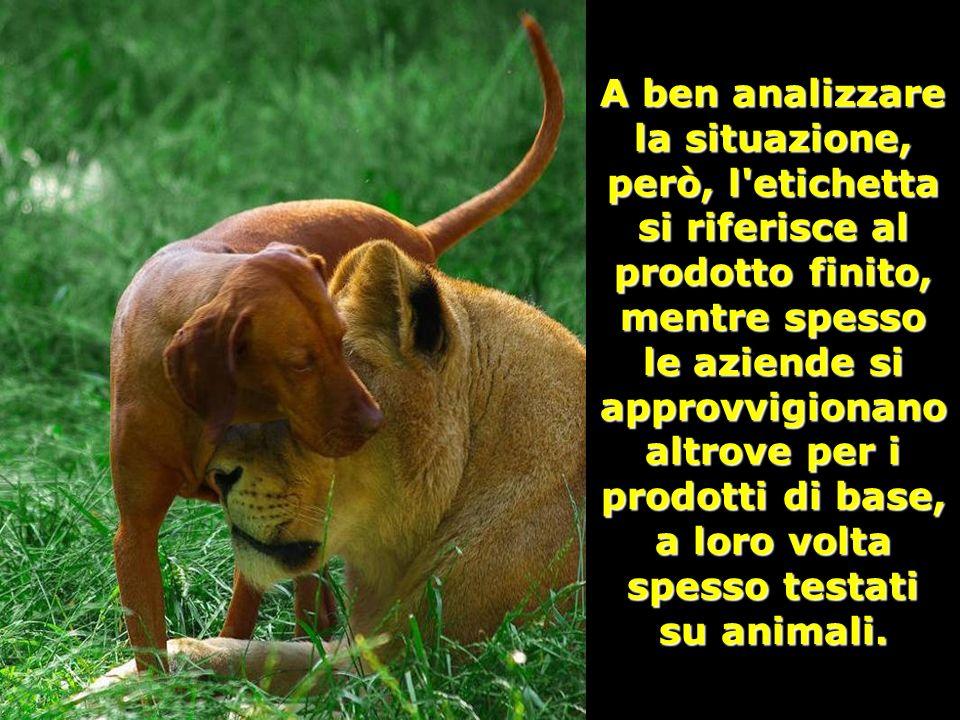 A ben analizzare la situazione, però, l etichetta si riferisce al prodotto finito, mentre spesso le aziende si approvvigionano altrove per i prodotti di base, a loro volta spesso testati su animali.