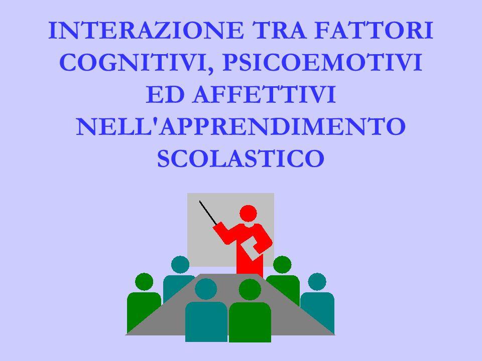 INTERAZIONE TRA FATTORI COGNITIVI, PSICOEMOTIVI ED AFFETTIVI NELL APPRENDIMENTO SCOLASTICO