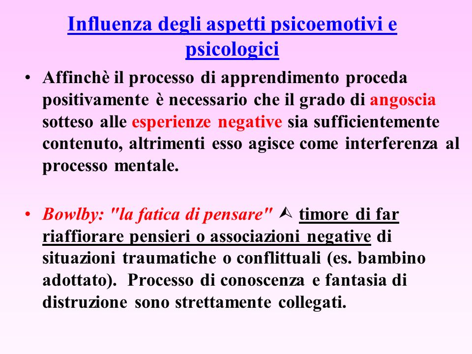 Influenza degli aspetti psicoemotivi e psicologici