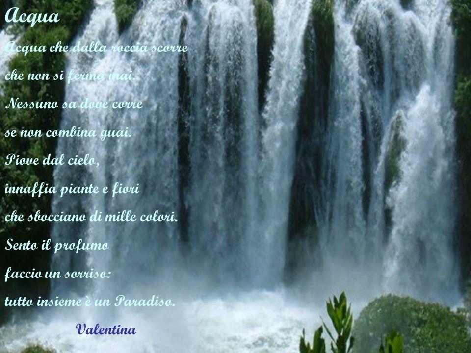 Acqua Acqua che dalla roccia scorre che non si ferma mai.