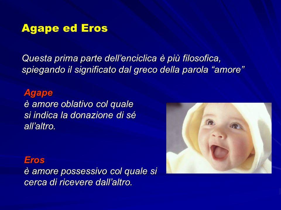 Agape ed Eros Questa prima parte dell'enciclica è più filosofica, spiegando il significato dal greco della parola amore
