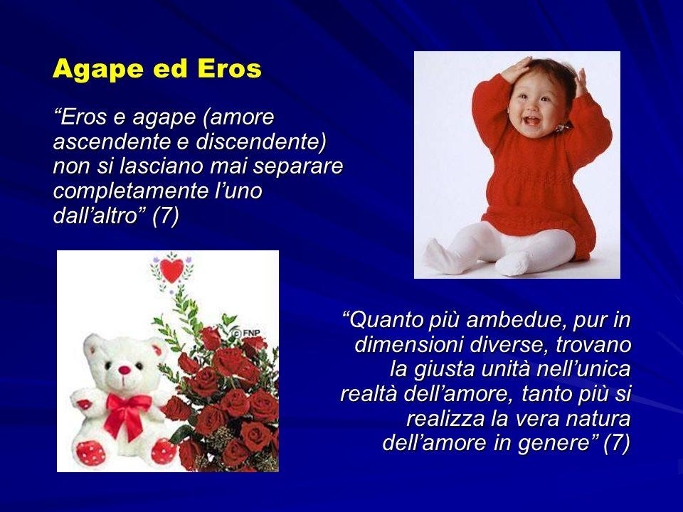 Agape ed Eros Eros e agape (amore ascendente e discendente) non si lasciano mai separare completamente l'uno dall'altro (7)