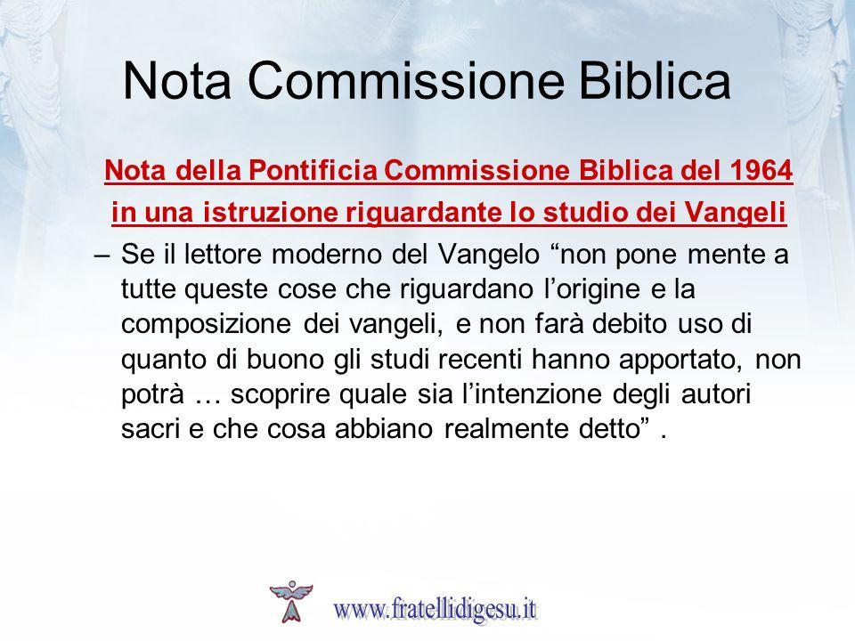 Nota Commissione Biblica
