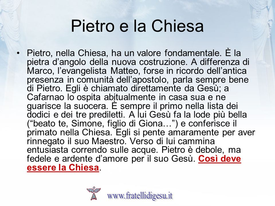 Pietro e la Chiesa