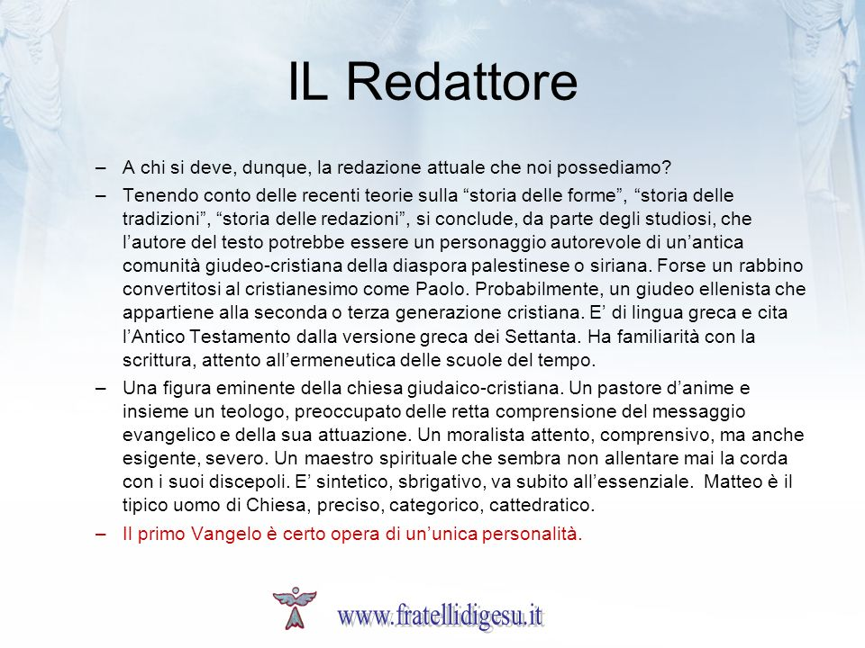 IL Redattore www.fratellidigesu.it